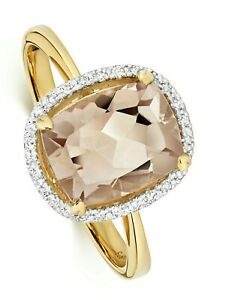 Morganite & Diamond Ring Yellow Gold Halo Engagement Appraisal Certificate