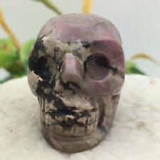 "1.5""Natural Rhodochrosite Carved Crystal Skull Realistic Healing Skeleton #7387"