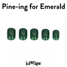 RED ASPEN Reusable Nail Dashes Short Square SHINY Pine-ing Emerald Green 30