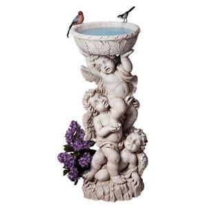 """Three Cherubs With Urn Design Toscano Exclusive 33½"""" Birdbath Or Bird-Feeder"""