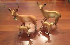 Large Vintage Hard Plastic Deer Family. Made in Hong Kong?