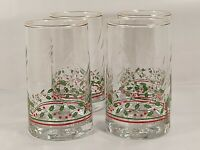 Vintage 1982 Arby's Holiday Holly Berry Tall Tumbler Glasses - 16 oz - Set of 4
