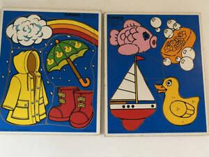 VTG Playskool Puzzles - Lot of 2 Wooden Puzzles Preschool 1980's