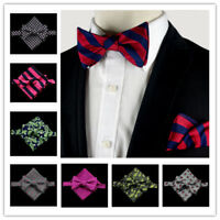Men Woven Polka Dot Self Bow Tie Wedding Handkerchief Set