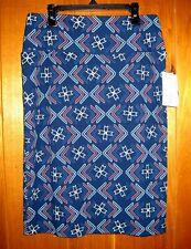 LuLaRoe Cassie Straight Pencil Skirt Size Medium Geometric Blue Pink Yellow
