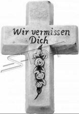 Grabengel Kreuz Grab Deko Grabschmuck Stein Dekoration Statue Skulpturen S111036