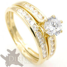 9ct REAL GOLD 1ct Round Cut Created DIAMOND ENGAGEMENT Ring Bridal Set Size H-V
