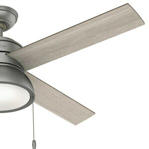 Hunter Fan 52 in Contemporary Matte Silver Ceiling Fan with Light and Pull Chain