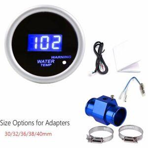 52mm Digital LED Water Temperature Gauge w/ Water Temp Joint Pipe Adapter Sensor