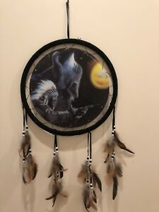Free Shipping! Holographic Dream Catcher, Indian and Howling Wolf
