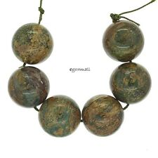 6 Large Natural African Green Opal Round Beads 18mm #76205