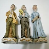 "Old People Statue Figurines With Their Musical Instruments Porcelain 12"" EUC"