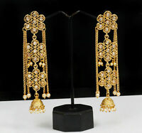 Ethnic Indian Bollywood Gold Plated Jhumka Jhumki Wedding Earrings Jewelry Set