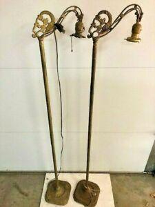 Set 2 Antique Art Deco Art Nouveau Bridge Arm Floor Lamps Matched Set