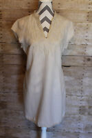 Cynthia Rowley V Neck Embroidered Shirt Linen Dress Tunic Sz 12 Stand Up Collar