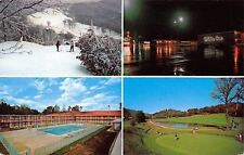 Asheville NC~Holiday Inn West~Night Lights~Snow Skiers~Golf~1960s Postcard