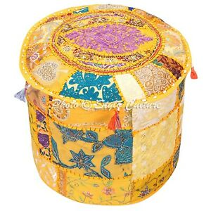 """Ethnic Round Pouf Cover Patchwork Bohemian Ottoman Stool Embroidered 18"""" Yellow"""