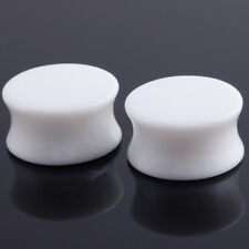 Pair Acrylic White Black Ear Tunnels Plugs Flared Ear Gauges Expanders 3-30mm