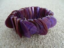 Elasticated Purple 'Mother of Pearl Effect' Shell Bracelet