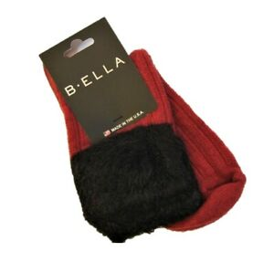B. Ella Ladies Wool Cashmere Angora Blend Boot Socks Griselda Faux-Fur Top Red