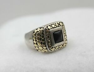JOHN HARDY Black Onyx 18k Yellow Gold & Sterling Silver Square Dot Ring Size 10