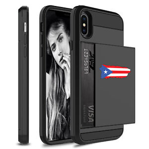For Apple iPhone Shockproof Wallet Credit Card Holder Case Cover Puerto Rico