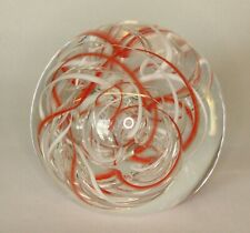 More details for vintage langham glass orange white & air swirl paperweight 8cm *[20035]