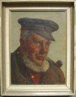 ::ADOLF RHEINERT *1880 DÜSSELDORF PORTRÄT PFEIFENRAUCHER MIT MÜTZE ÖLGEMÄLDE