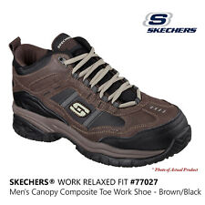 Skechers Men's Work Relaxed Fit Brown Canopy Comp Toe Safety Work Shoes #77027