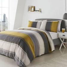 Fusion Betley Classic Wide Stripe Easy Care Duvet Cover / Bedding Set Single Ochre