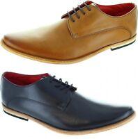 New Base London Cash Mens Leather Derby Shoes  Black Tan 7 - 12 UK