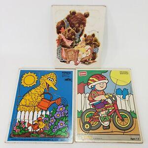 3 Playskool Children Puzzles Wood Cardboard Ages 2 - 5 Big Bird Bears Bicycler