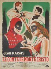 """""""LE COMTE DE MONTE CRISTO"""" Affiche originale entoilée (Jean MARAIS, Lia AMANDA)"""