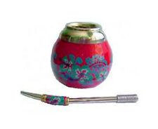 """""""Floral"""" Gourd with Bombilla. Traditional Yerba Mate drinking cup and straw."""