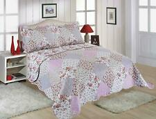 AMELIA PINK FLORAL PATCHWORK BEDSPREAD & PILLOWSHAMS IN SINGLE DOUBLE OR KING