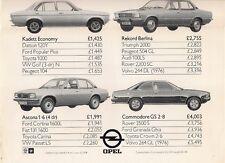 Opel Kadett Ascona Manta Rekord Commodore Price Comparisons 1976 UK Brochure