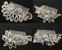 New Fashion Bridal Flower Rhinestone Crystal Prom Wedding Tiara Hair Comb ABC2