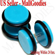 "2048 Turquoise Blue Fake Cheater Illusion Faux Ear Plugs 16G - 1/2"" = 12mm 2pcs"