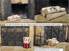 WHITE BIRCH LOG SET OF 5 LOGS FOR FIREPLACE HEARTH MANTLE DECOR RUSTIC CRAFTS