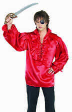 Pirate Shirt Poly Satin Ruffled Front With Lacing Men's Fancy Costume Shirt