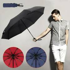 Windproof 10 Ribs Strong Automatic Open Close Umbrella Folding Compact Travel UK