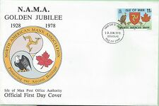 Isle of Man First Day Cover FDC 1978 NAMA N.A.M.A. Golden Jubilee American USA