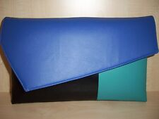 OVERSIZED TURQUOISE, ROYAL BLUE & BLACK faux leather clutch bag,  BN .UK made
