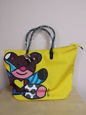 Romero Britto Yellow Tote Bag Teddy Bear Cotton & Polyester NWT