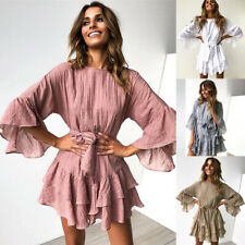 2019 Fashion  Wild Ruffled Lace  & Swing Women  Mini Dress For Vacation