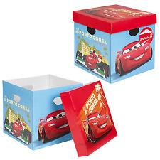 Set di 2 DISNEY CARS Cartone Scatole di stoccaggio con coperchi Bambini Giocattoli Arts Crafts BOX