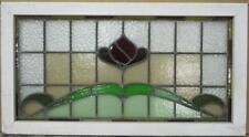 "OLD ENGLISH LEADED STAINED GLASS WINDOW TRANSOM Bordered Floral 33.75"" x 18.25"""