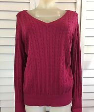 Irelands Eye Lily Howard Womens Large Burgundy Cable Silk Blend Knit Sweater