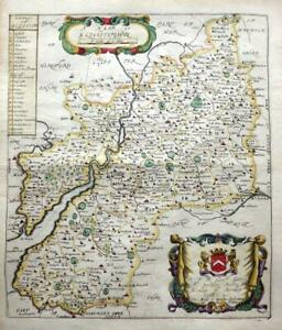 GLOUCESTERSHIRE BY RICHARD BLOME c1673 GENUINE ANTIQUE COPPER ENGRAVED MAP