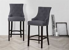 Birlea Harper 2x Grey Fabric & Dark Wood Bar Stool Chairs Chesterfield Wingback